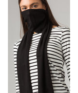 'Cambridge' Black 100% Cashmere Scarf