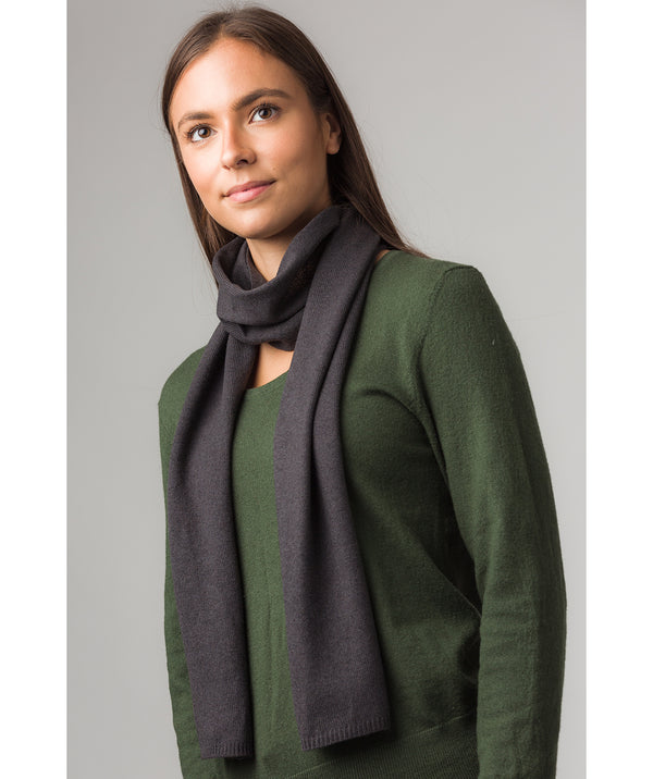 'Oxford' Slate 100% Cashmere Scarf