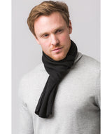 'Edinburgh' Black Cashmere and Merino Wool Scarf