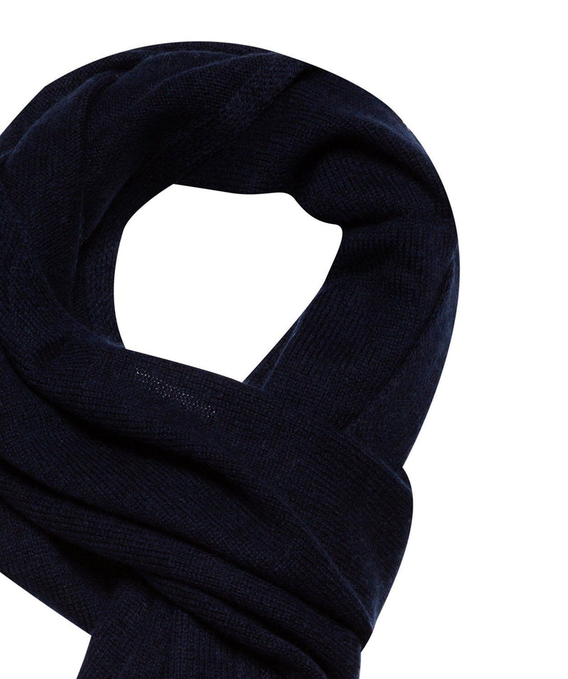 'Edinburgh' Dark Navy Cashmere and Merino Wool Scarf