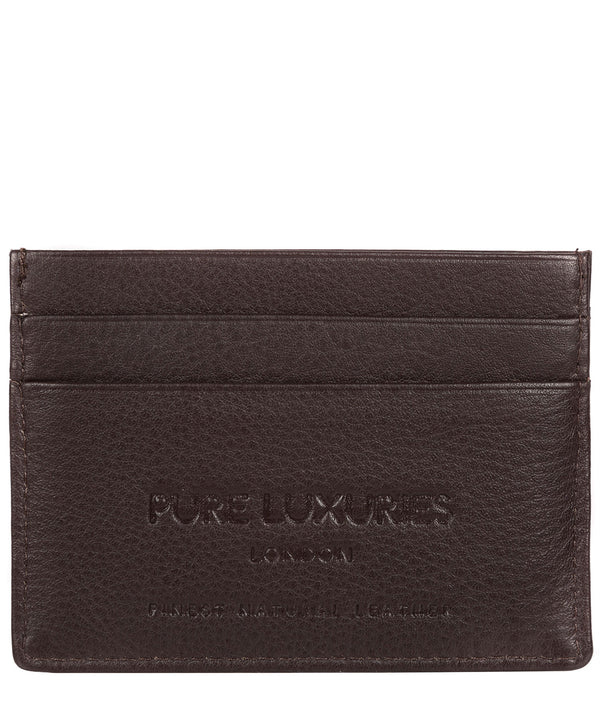 'Tucano' Black Coffee Leather Card Holder image 3