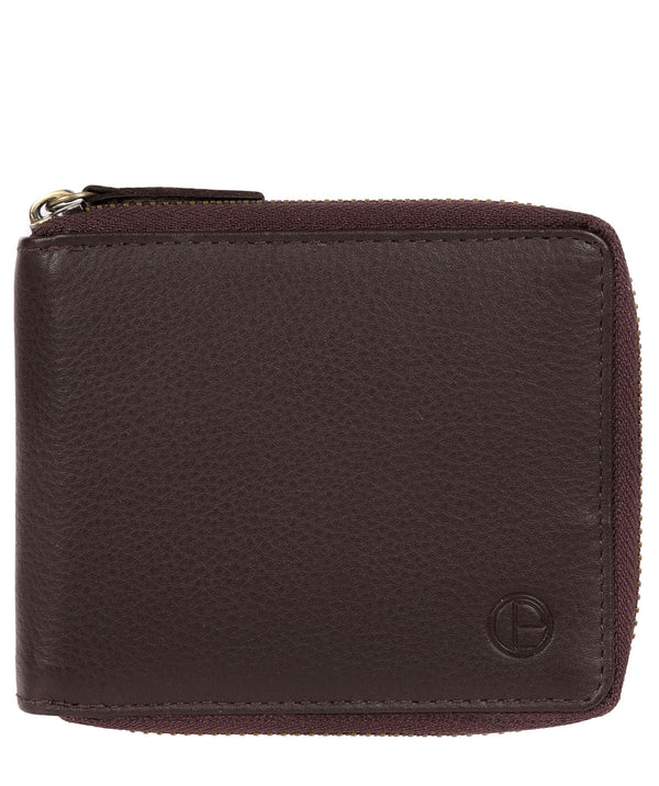 'Tornado' Black Coffee Leather Zip-Round Wallet image 1