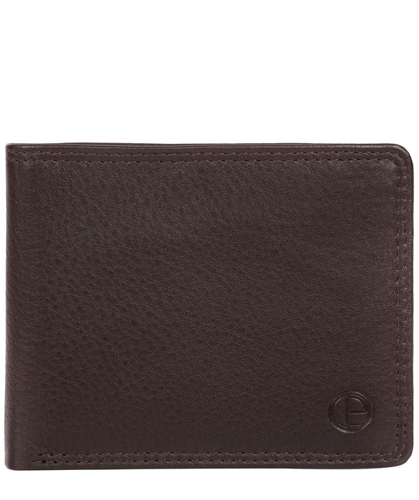 'Wellington' Black Coffee Leather Bi-Fold Wallet