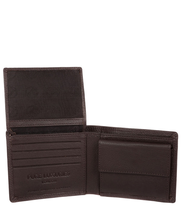 'Hurricane' Black Coffee Leather Bi-Fold Wallet image 3