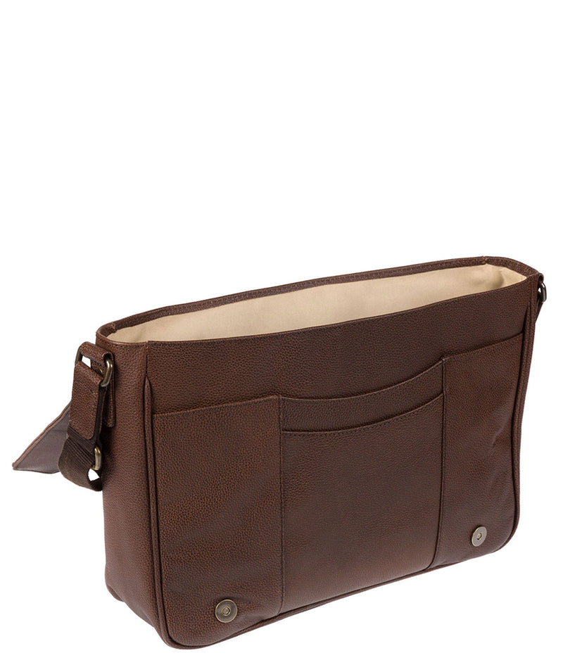 'Keon' Walnut Buffalo Leather Messenger Bag