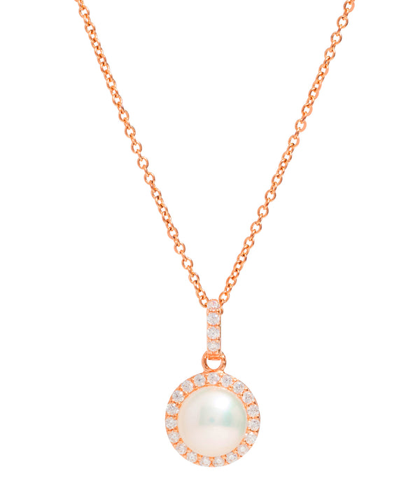 Gift Packaged 'Marika' 18ct Rose Gold Plated Sterling Silver Freshwater Pearl & Cubic Zirconia Necklace