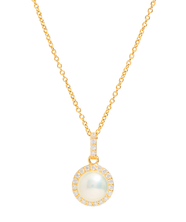 Gift Packaged 'Marika' 18ct Yellow Gold Plated Sterling Silver Freshwater Pearl & Cubic Zirconia Necklace
