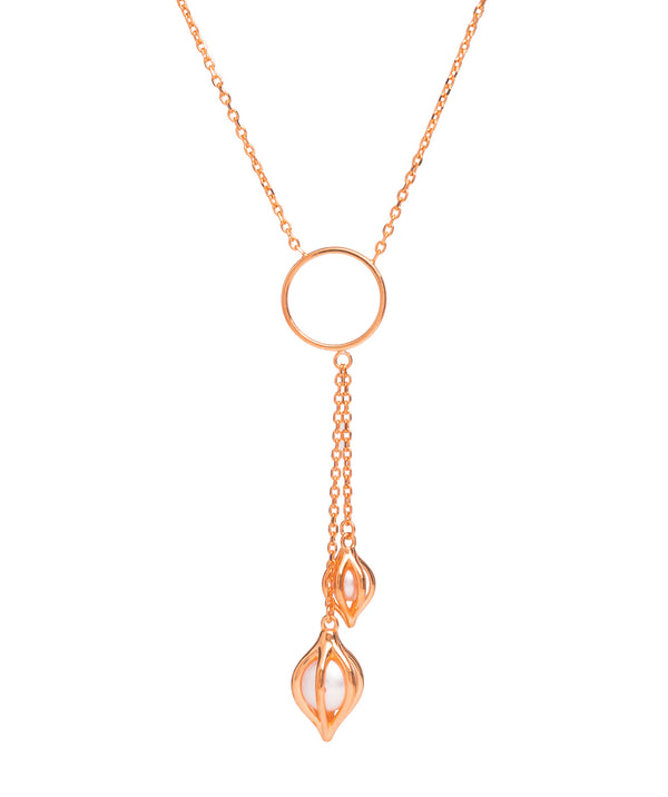 Gift Packaged 'Evora' 18ct Rose Gold Plated Sterling Silver & Freshwater Pearl Necklace
