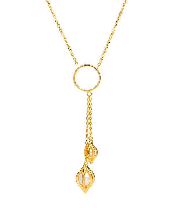 Gift Packaged 'Evora' 18ct Yellow Gold Plated Sterling Silver & Freshwater Pearl Necklace
