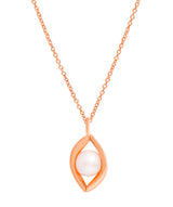Gift Packaged 'Jensen' 18ct Rose Gold Plated Sterling Silver Teardrop Freshwater Pearl Necklace