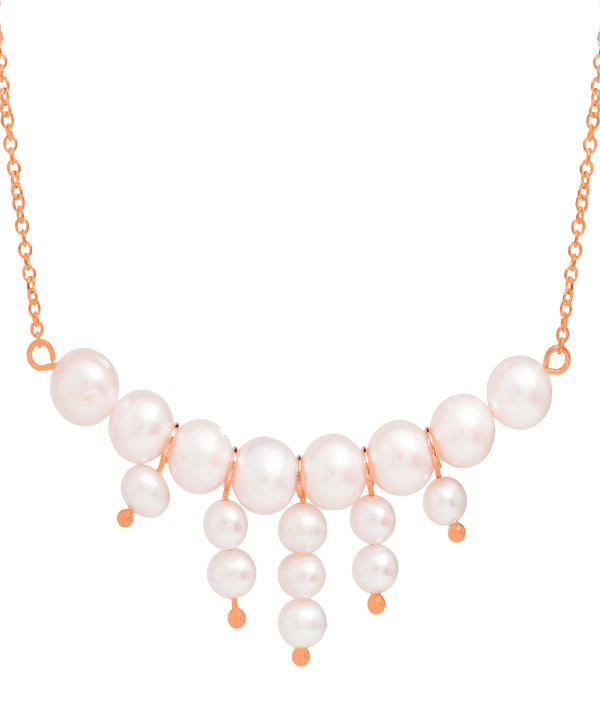 Gift Packaged 'Cabello' 18ct Rose Gold Plated Sterling Silver Freshwater Pearl Cluster Necklace