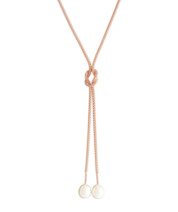 'Aruru' Rose Gold Plated Sterling Silver Dual Pearl Necklace image 1