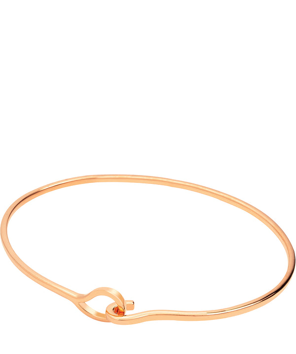 Gift Packaged 'Monica' 18ct Rose Gold Plated Sterling Silver Minimalist Hook Bangle