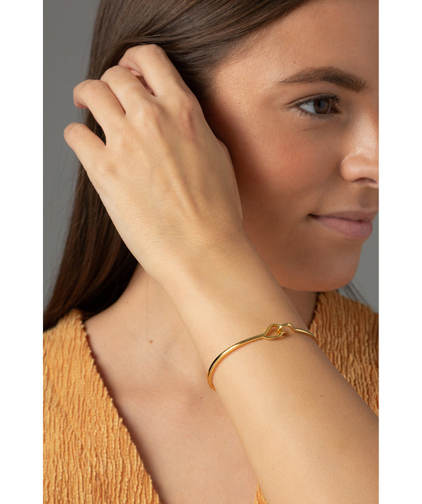 'Monica' Yellow Gold Plated Sterling Silver Hook Bangle image 2