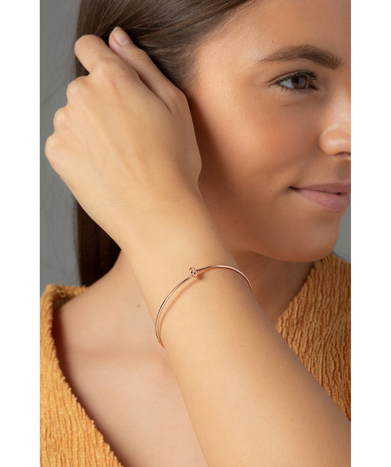 'Rebekah' Rose Gold Plated Sterling Silver Knotted Bangle image 2
