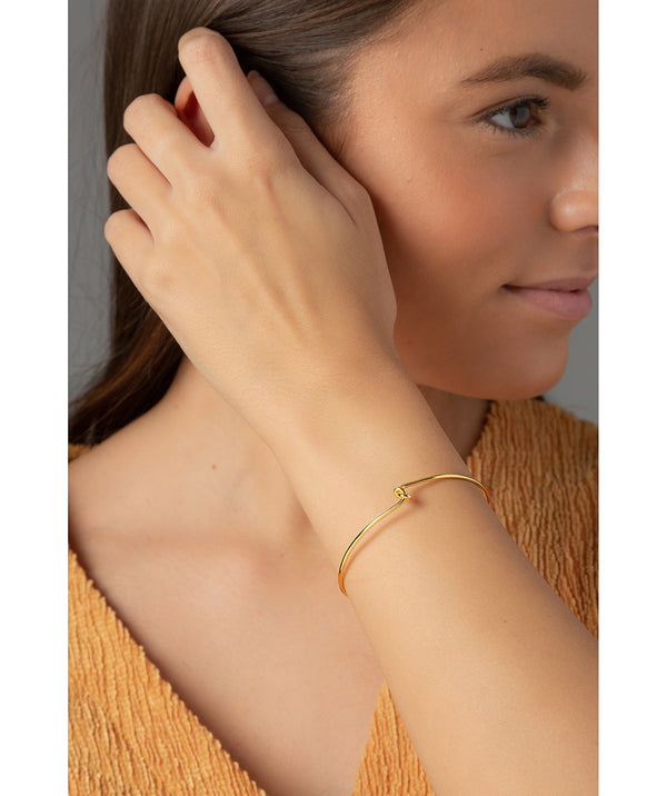 'Rebekah' Yellow Gold Plated Sterling Silver Knotted Bangle image 2
