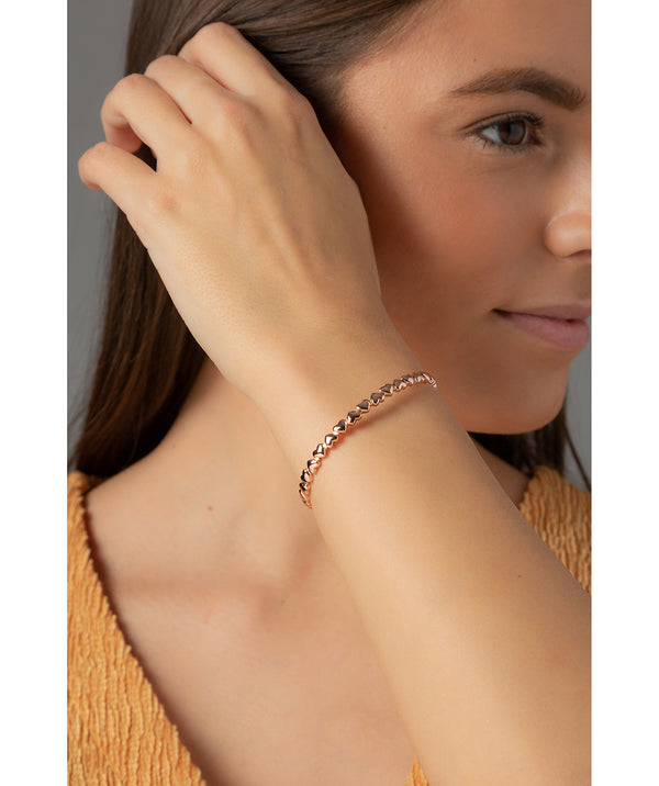 'Bridget' Rose Gold Plated Sterling Silver Heart Bangle image 2