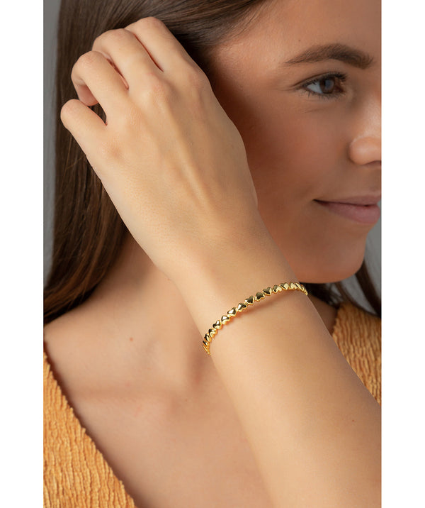 'Bridget' Yellow Gold Plated Sterling Silver Heart Bangle image 2