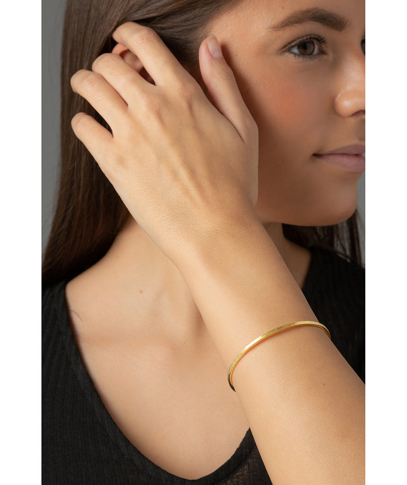 'Antonia' Yellow Gold Plated Sterling Silver Brushed Bangle image 2