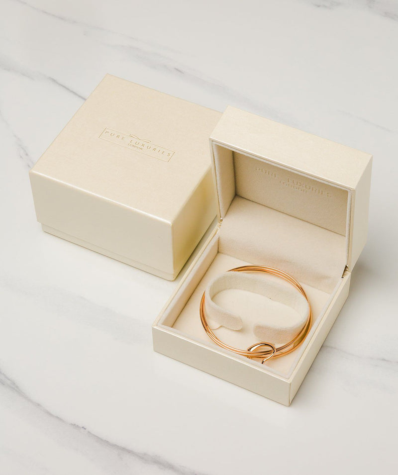 Gift Packaged 'Bethan' 18ct Rose Gold Plated Sterling Silver Heart Pendant Bangle