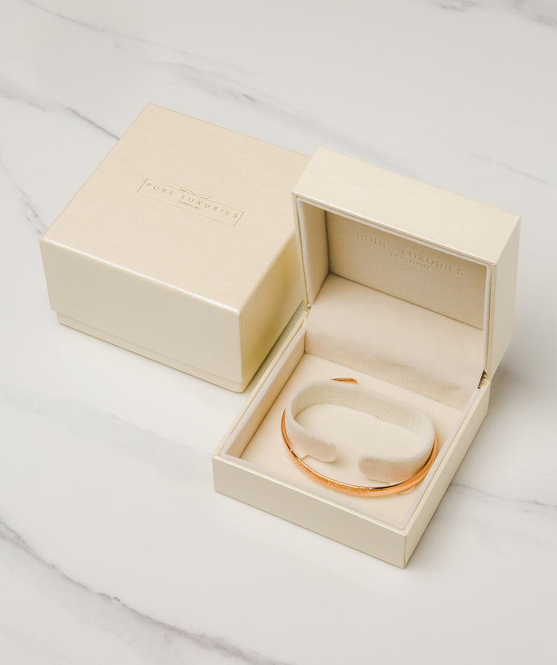 Gift Packaged 'Xenia' 18ct Rose Gold Plated Sterling Silver Textured Bangle