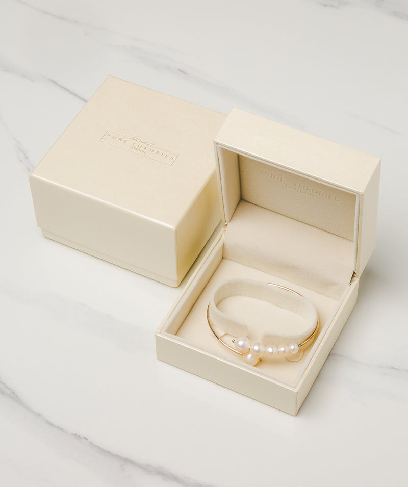 Gift Packaged 'Trina' Sterling Silver Freshwater Pearl Cluster Bangle