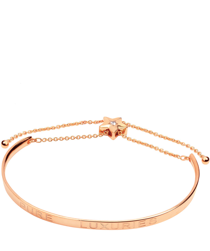 Gift Packaged 'Elisa' 18ct Rose Gold Plated Sterling Silver Shooting Star Bangle
