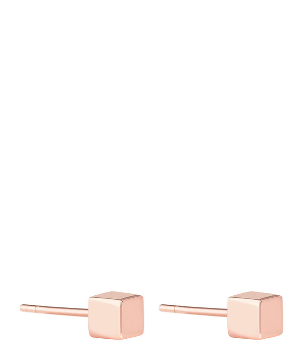 'Verina' Rose Gold Plated Sterling Silver Cube Stud Earrings image 1