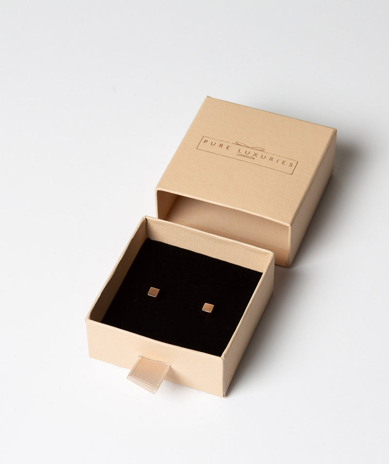 'Verina' Rose Gold Plated Sterling Silver Cube Stud Earrings image 3