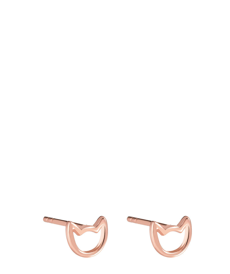 'Fatoumata' Rose Gold Plated Sterling Silver Cat Earrings image 1