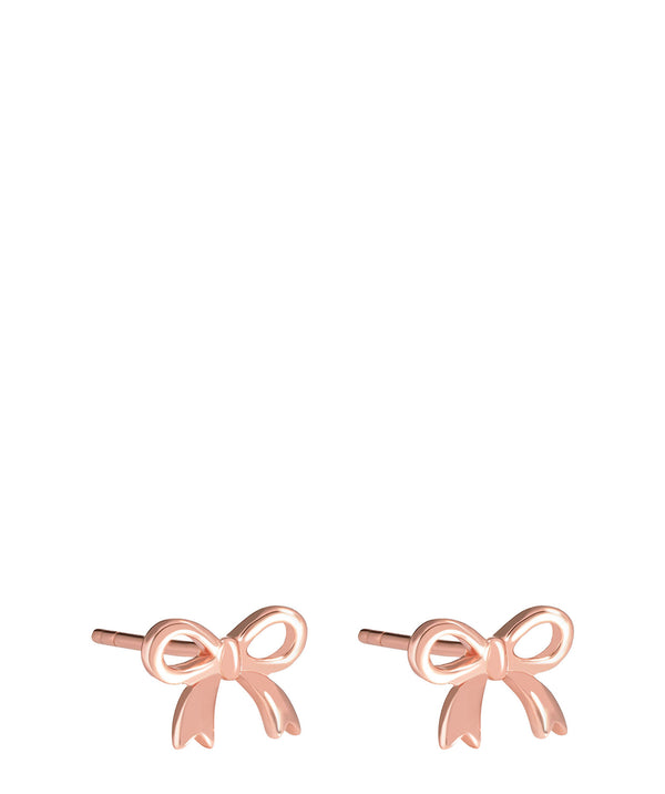 'Tauria' Rose Gold Plated Sterling Silver Bow Ear Studs  image 1