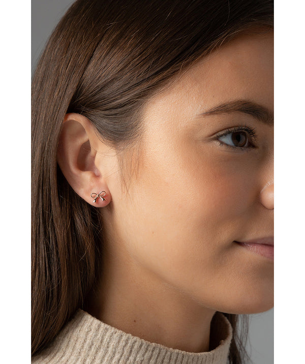 'Tauria' Rose Gold Plated Sterling Silver Bow Ear Studs  image 2