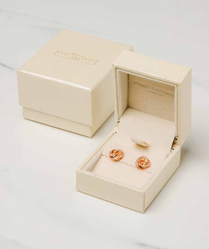 Gift Packaged 'Garance' 18ct Rose Gold Plated Sterling Silver Swirled Earrings