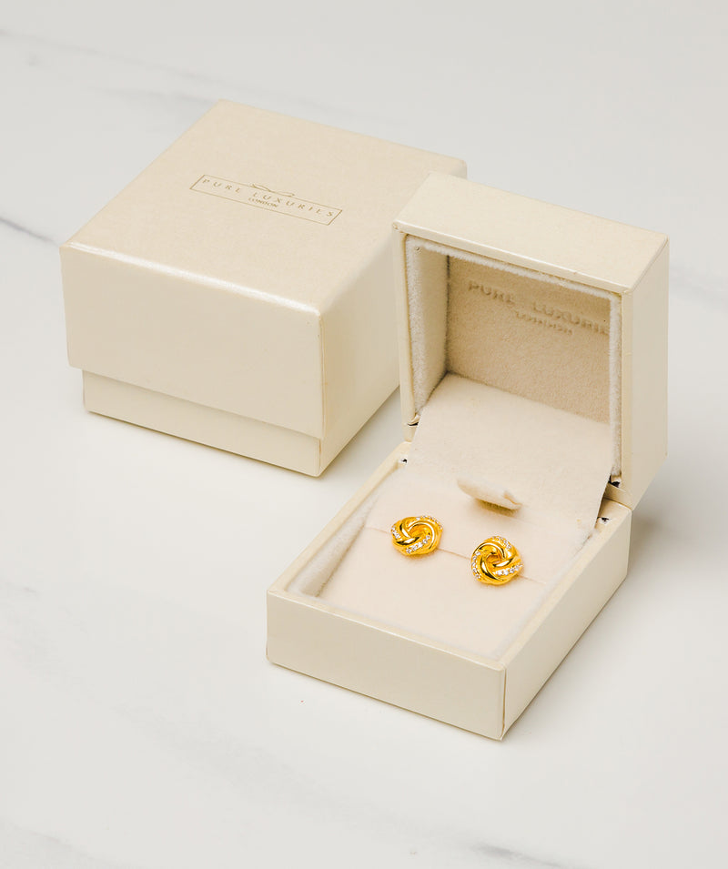 Gift Packaged 'Garance' 18ct Yellow Gold Plated Sterling Silver Swirled Earrings