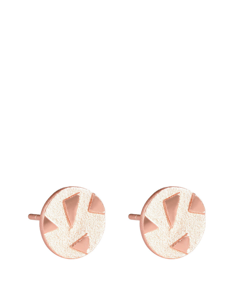'Persis' Rose Gold Plated Sterling Silver Patterned Circular Earrings image 1