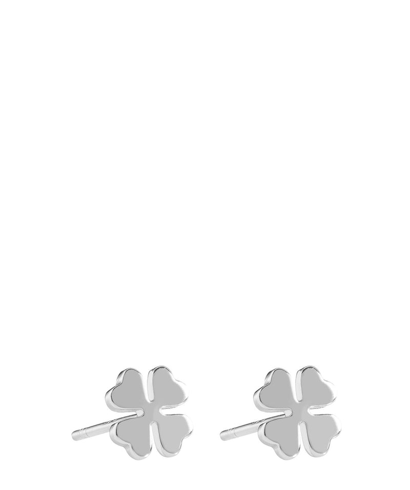 'Beata' Sterling Silver Four Leaf Clover Earrings image 1