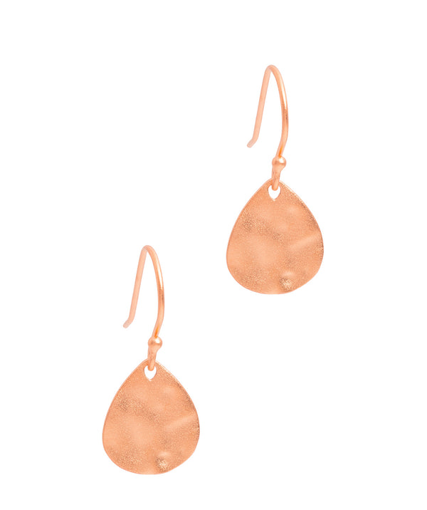 Gift Packaged 'Jamesina' Hammered 18ct Rose Gold Plated Sterling Silver Drop Earrings