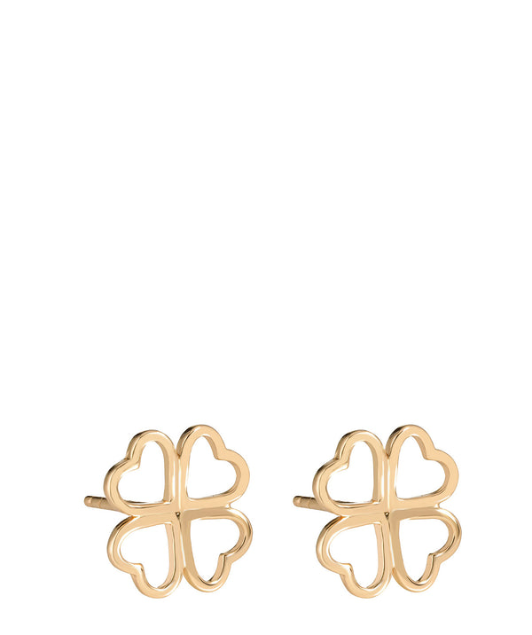 'Tanaquil' Gold Plated Sterling Silver Four Leaf Clover Earrings image 1