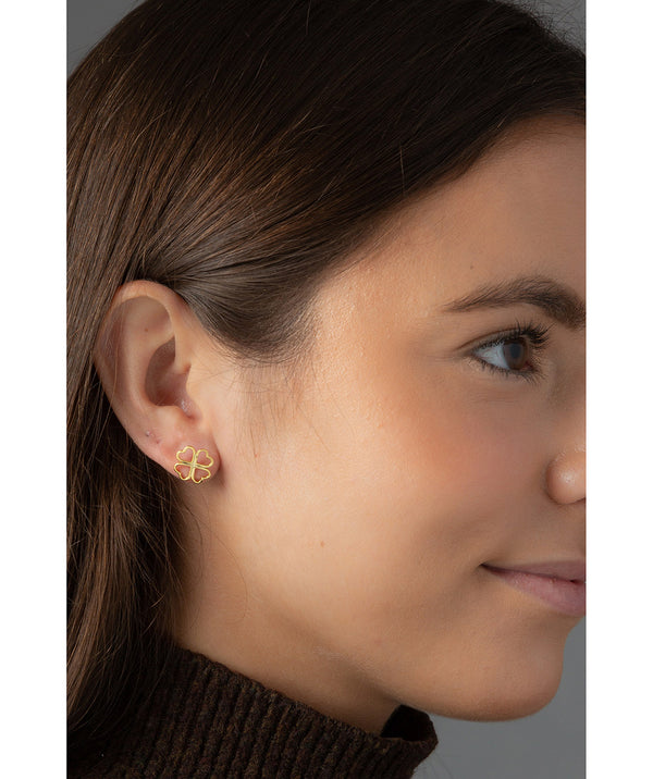 'Tanaquil' Gold Plated Sterling Silver Four Leaf Clover Earrings image 2