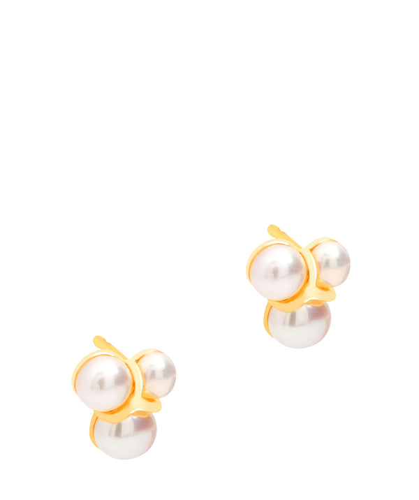Gift Packaged 'Clémence' 18ct Gold Plated Sterling Silver Pearl Studded Earrings