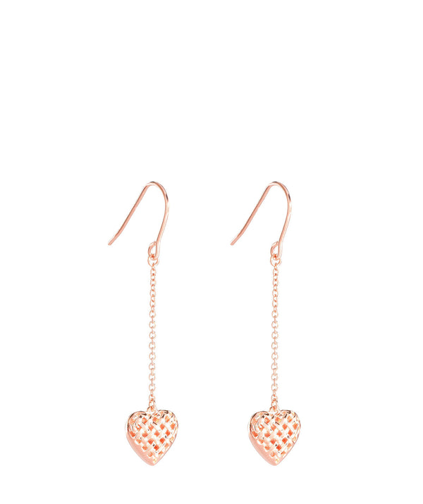'Quintia' Rose Gold Plated Sterling Silver Woven Heart Earrings image 1