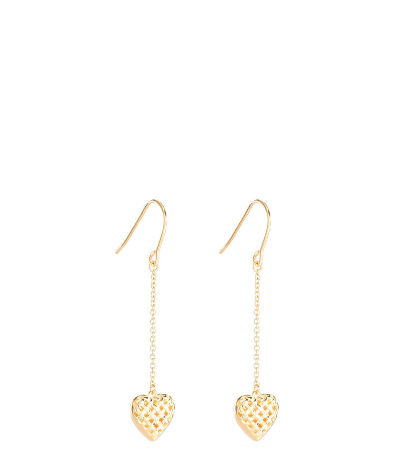 'Quintia' Gold Plated Sterling Silver Woven Heart Earrings image 1