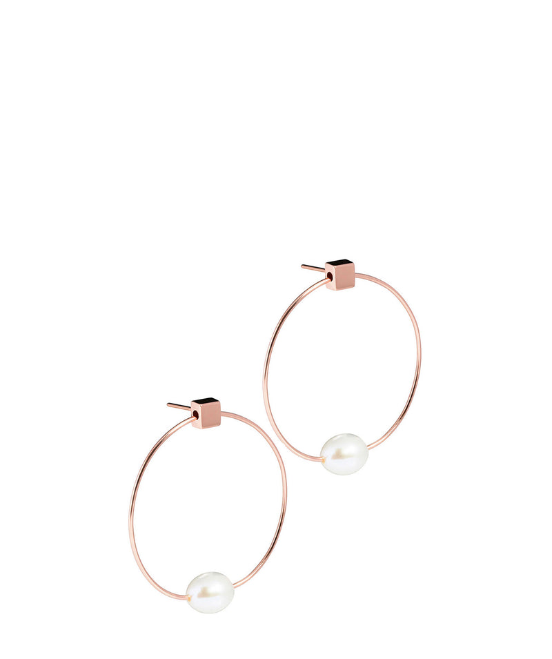 'Vichy' Rose Gold Plated Sterling Silver with Pearl Hoop Stud Earrings image 1
