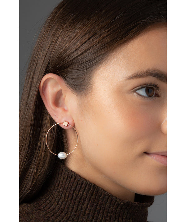 'Vichy' Rose Gold Plated Sterling Silver with Pearl Hoop Stud Earrings image 2