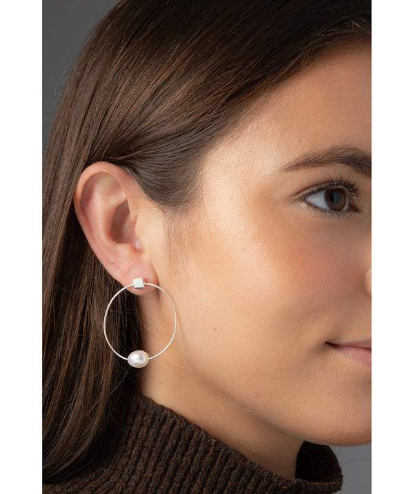'Vichy' Sterling Silver with Pearl Hoop Stud Earrings image 2