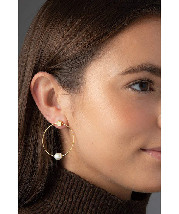'Vichy' Yellow Gold Plated Sterling Silver with Pearl Hoop Stud Earrings image 2