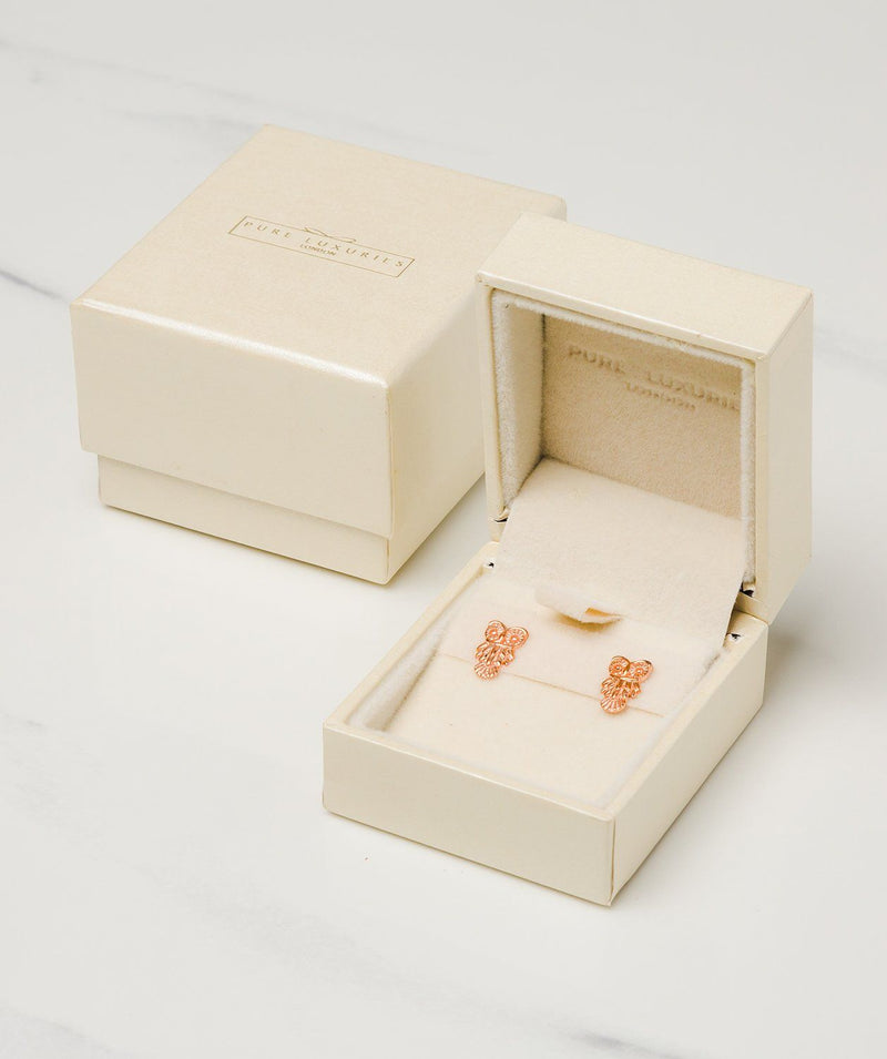 Gift Packaged 'Lowri' 18ct Rose Gold Plated Sterling Silver Owl Earrings
