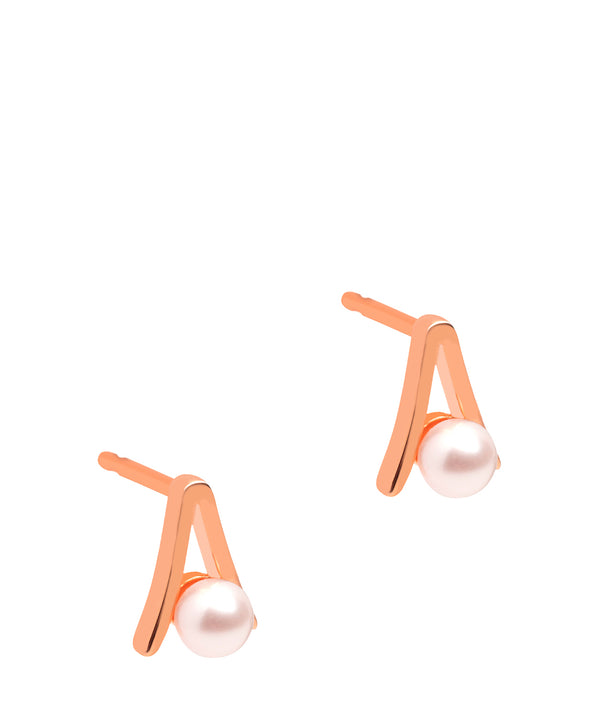 Gift Packaged 'Bastia' 18ct Rose Gold Plated Sterling Silver and Pearl Stud Earrings