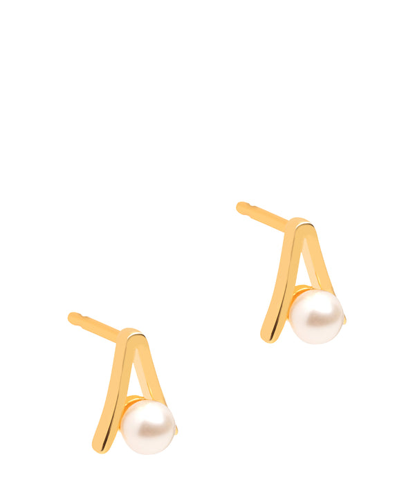 Gift Packaged 'Bastia' 18ct Yellow Gold Plated Sterling Silver and Pearl Stud Earrings