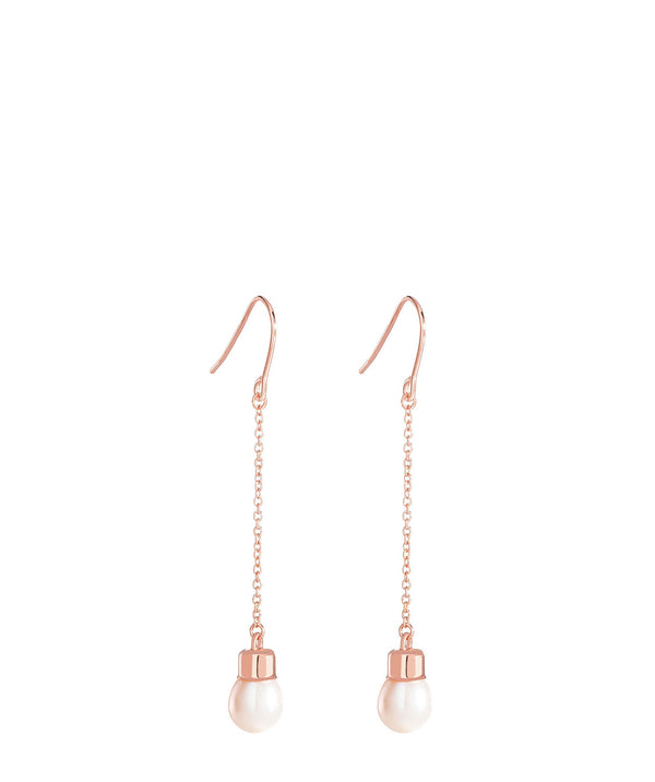 'Romy' Rose Gold Plated Sterling Silver Hanging Pearl Earrings image 1